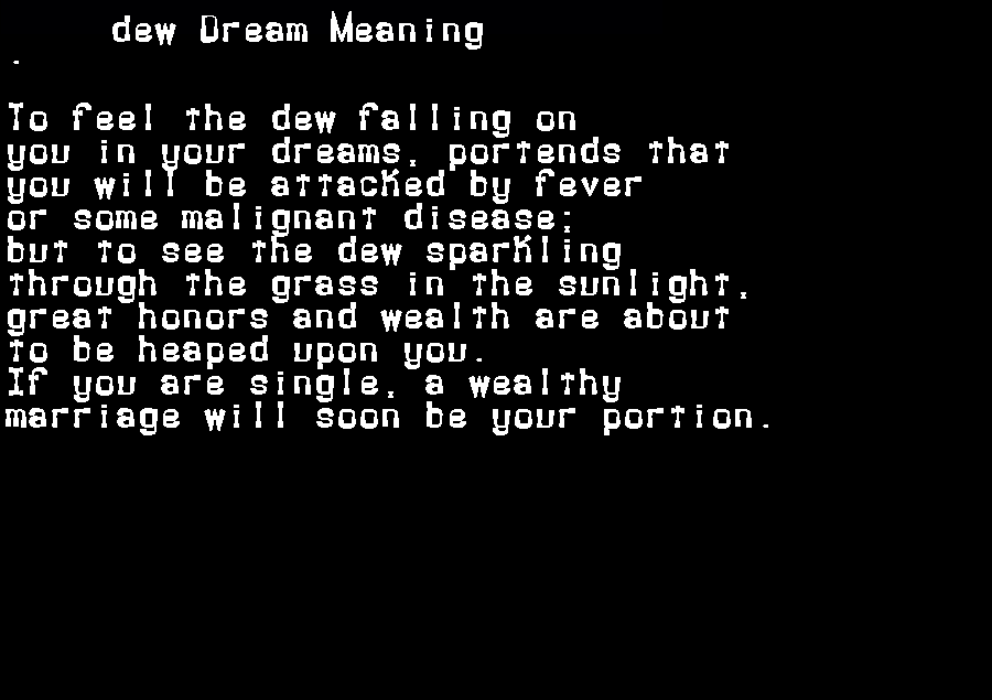 dream meanings dew