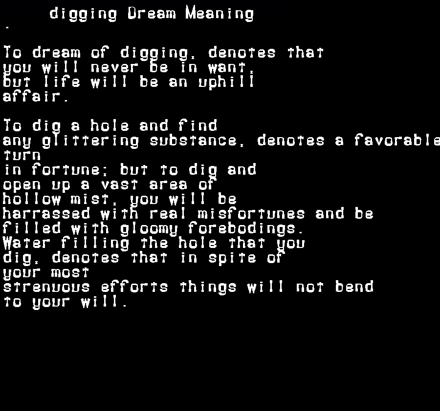 dream meanings digging