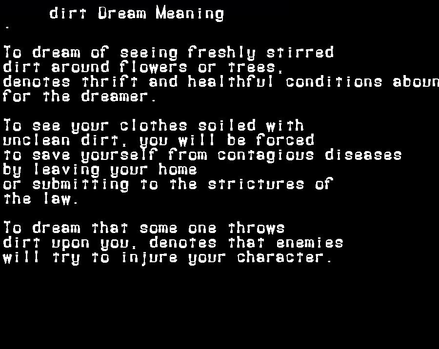 dream meanings dirt
