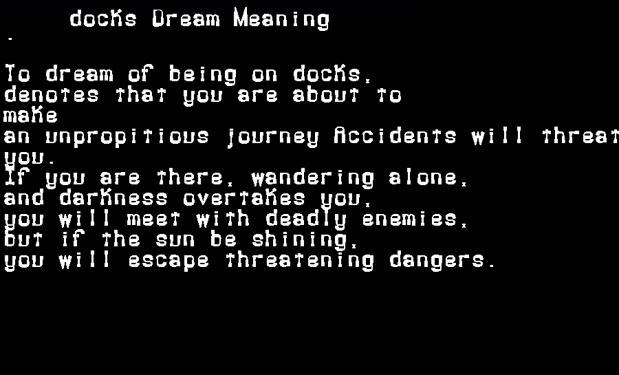 dream meanings docks