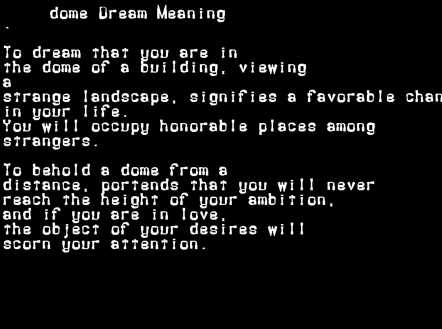 dream meanings dome