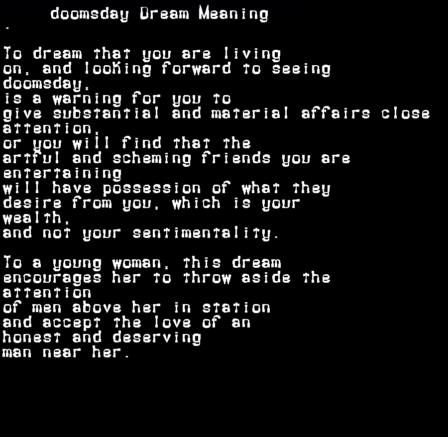 dream meanings doomsday