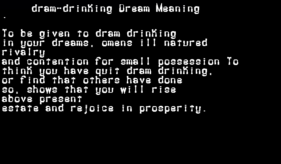 dream meanings dram-drinking