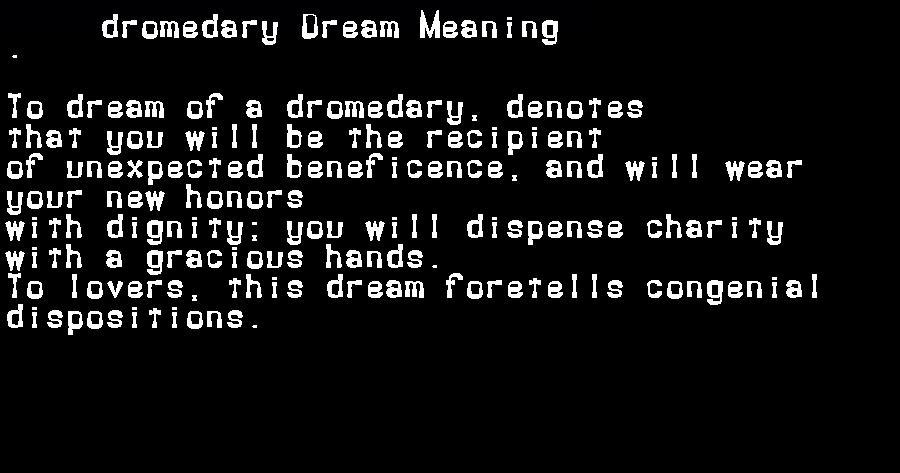 dream meanings dromedary