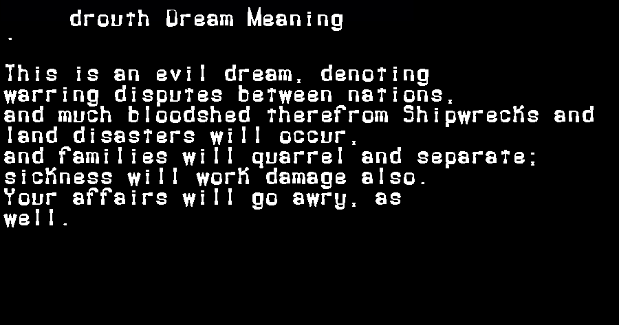 dream meanings drouth