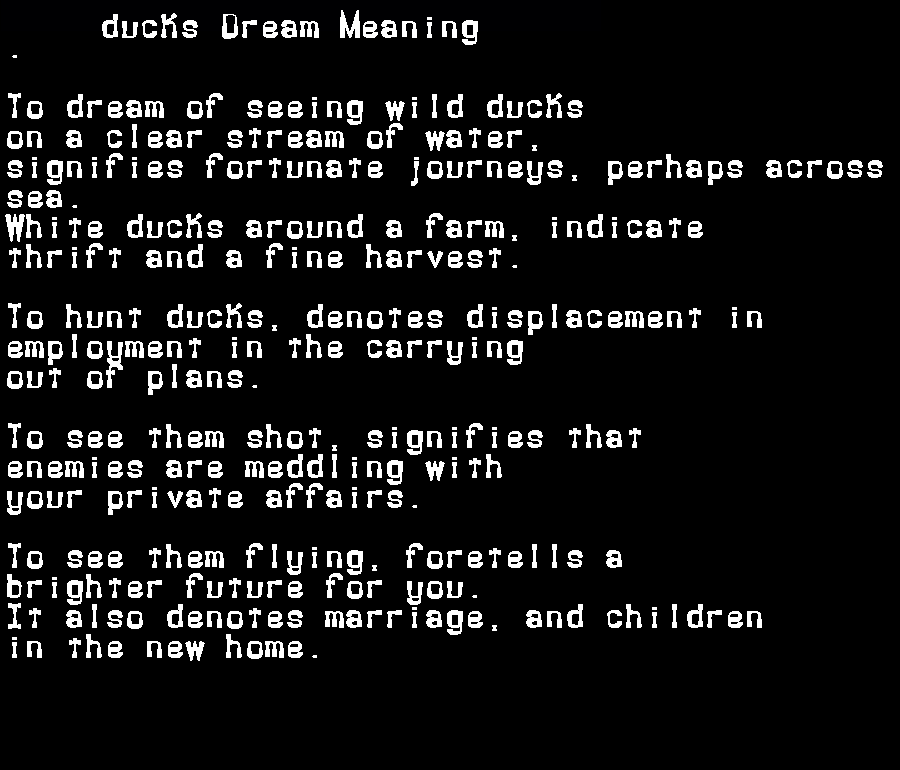 dream meanings ducks