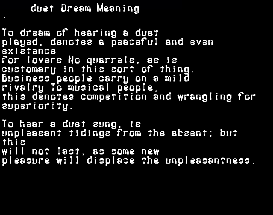 dream meanings duet
