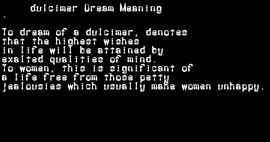 dream meanings dulcimer