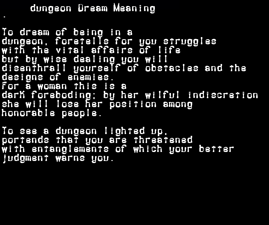 dream meanings dungeon