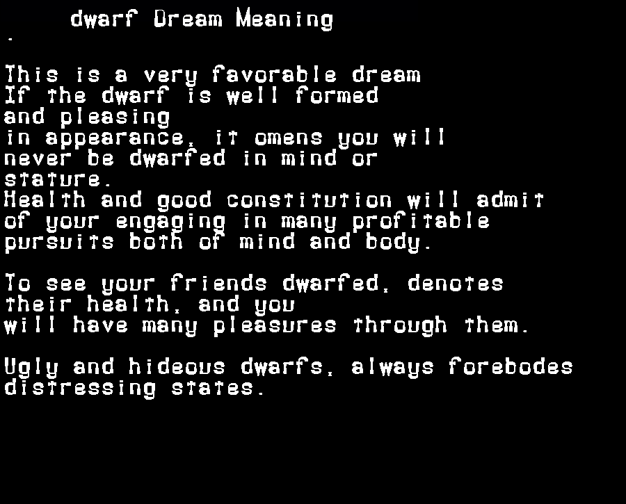 dream meanings dwarf
