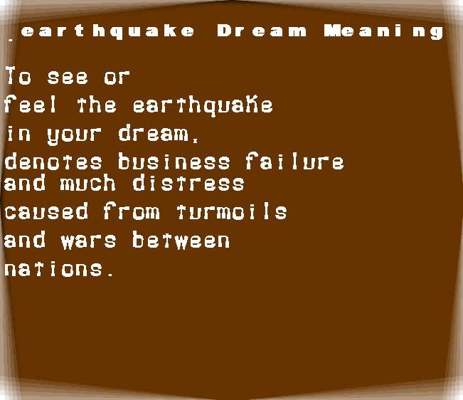 dream meanings earthquake