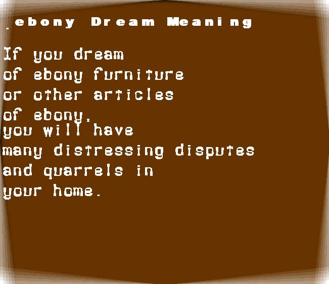 dream meanings ebony