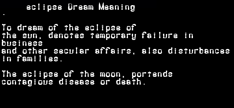 dream meanings eclipse