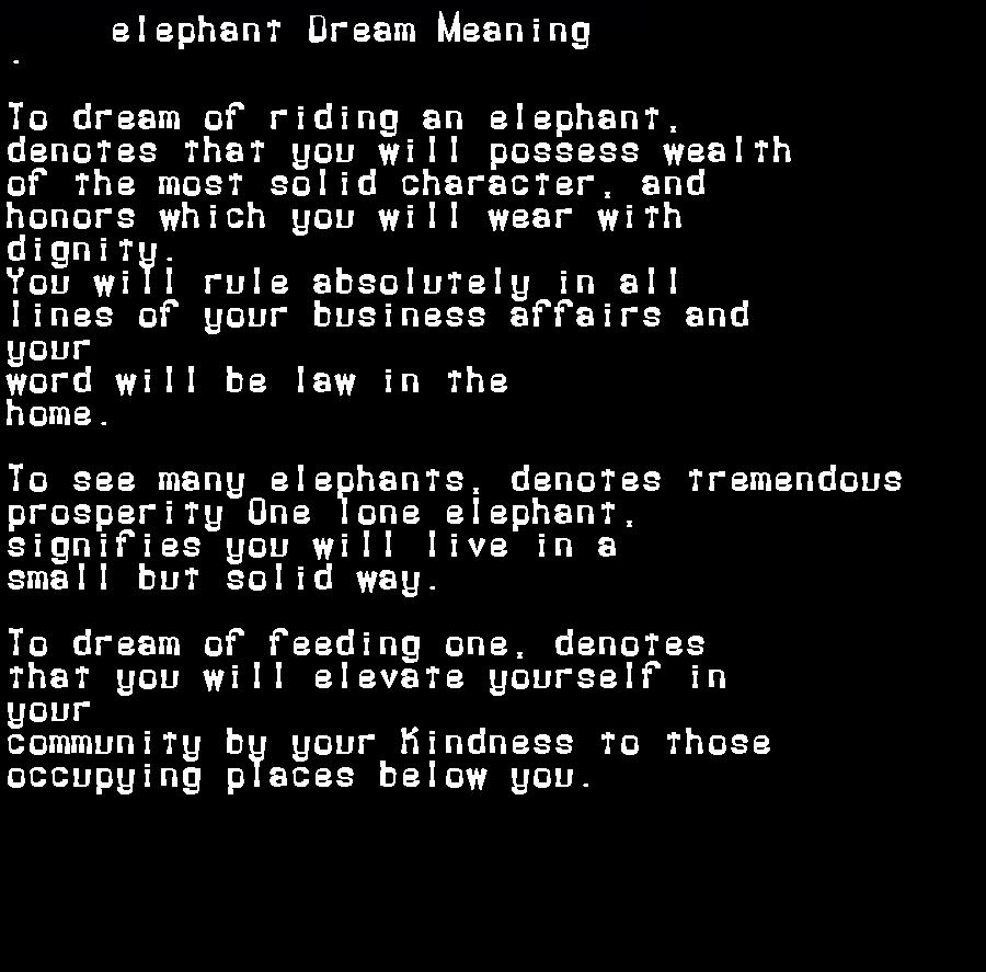 dream meanings elephant