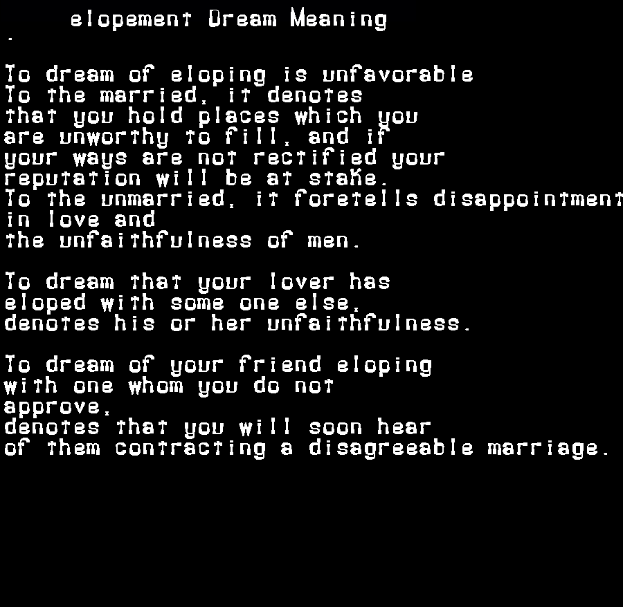 dream meanings elopement
