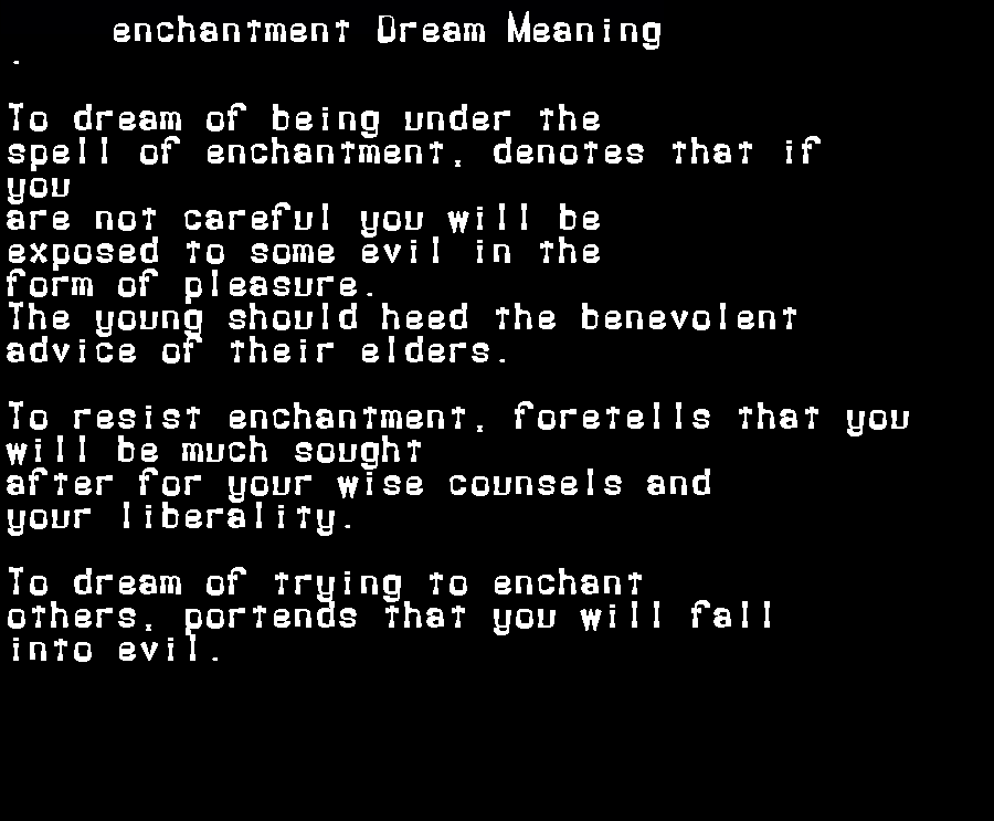 dream meanings enchantment