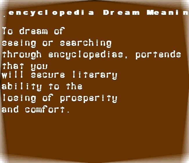 dream meanings encyclopedia