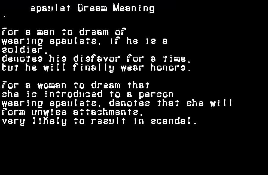 dream meanings epaulet