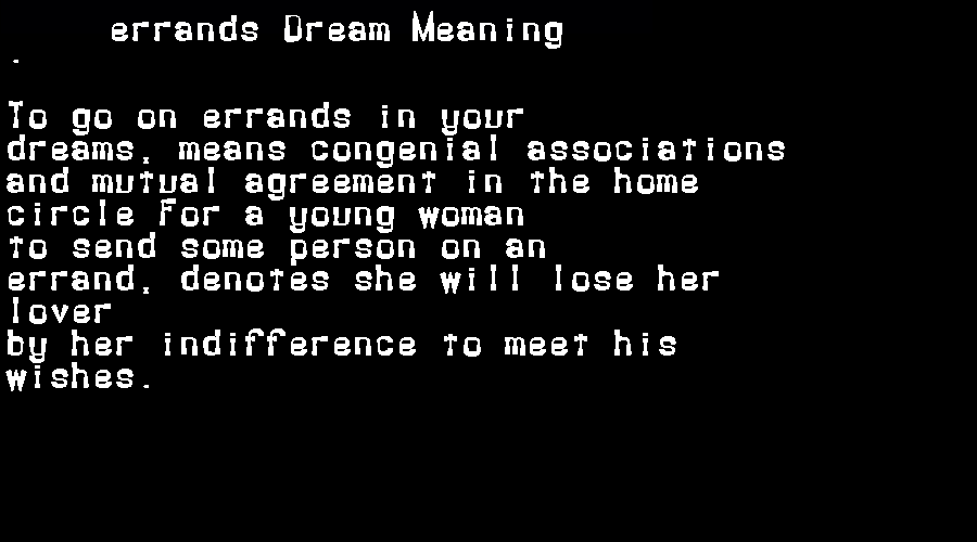 dream meanings errands