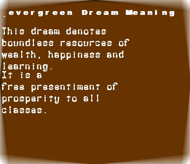 dream meanings evergreen