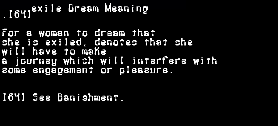 dream meanings exile