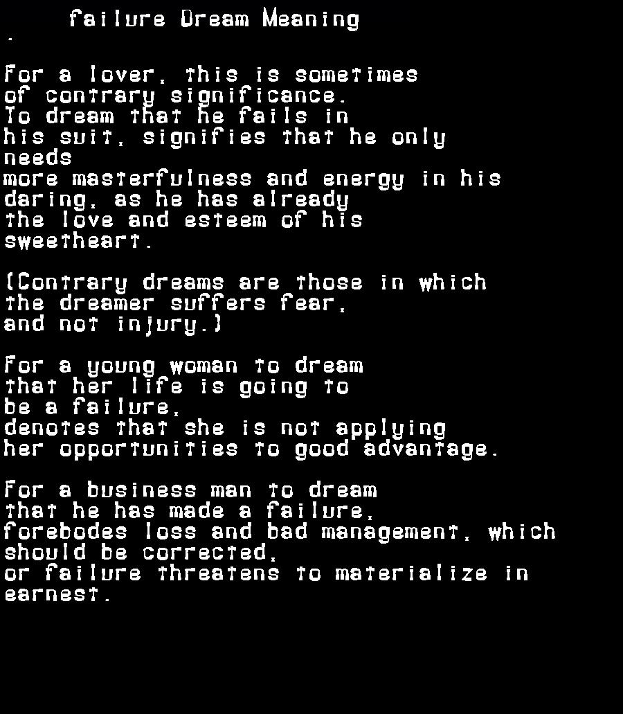 dream meanings failure