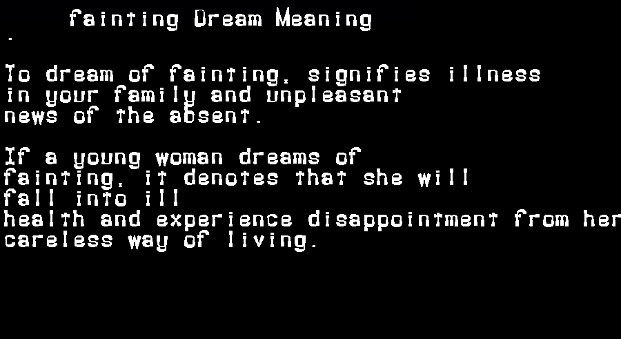 dream meanings fainting