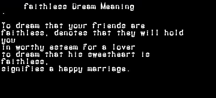 dream meanings faithless