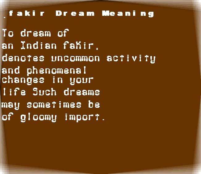 dream meanings fakir