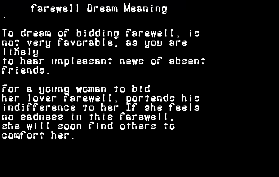 dream meanings farewell