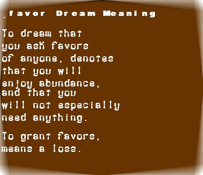 dream meanings favor