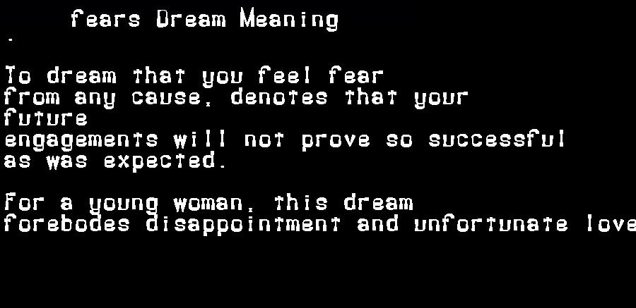 dream meanings fears