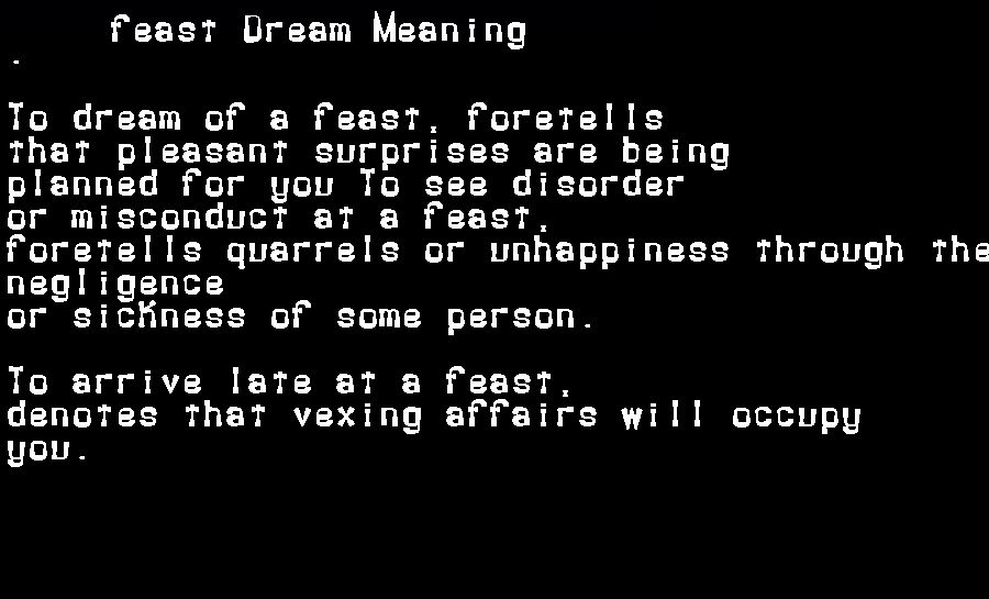 dream meanings feast
