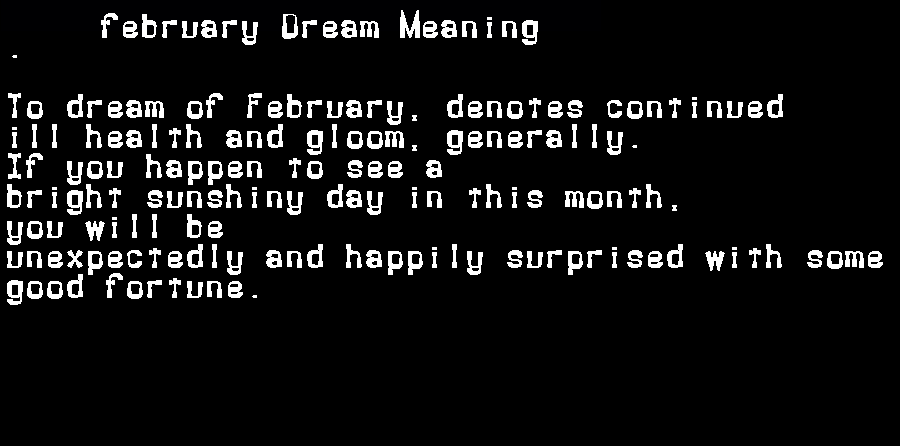 dream meanings february