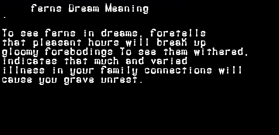 dream meanings ferns