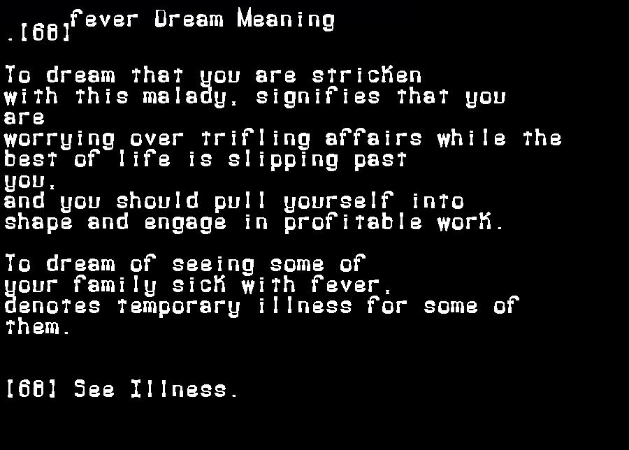 dream meanings fever