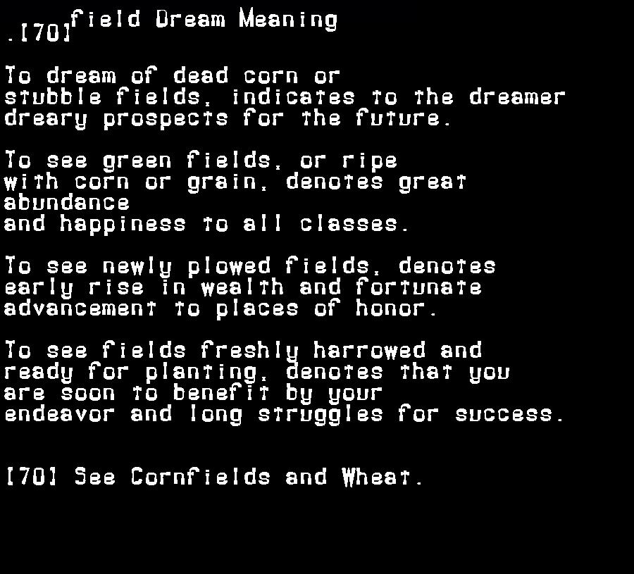 dream meanings field