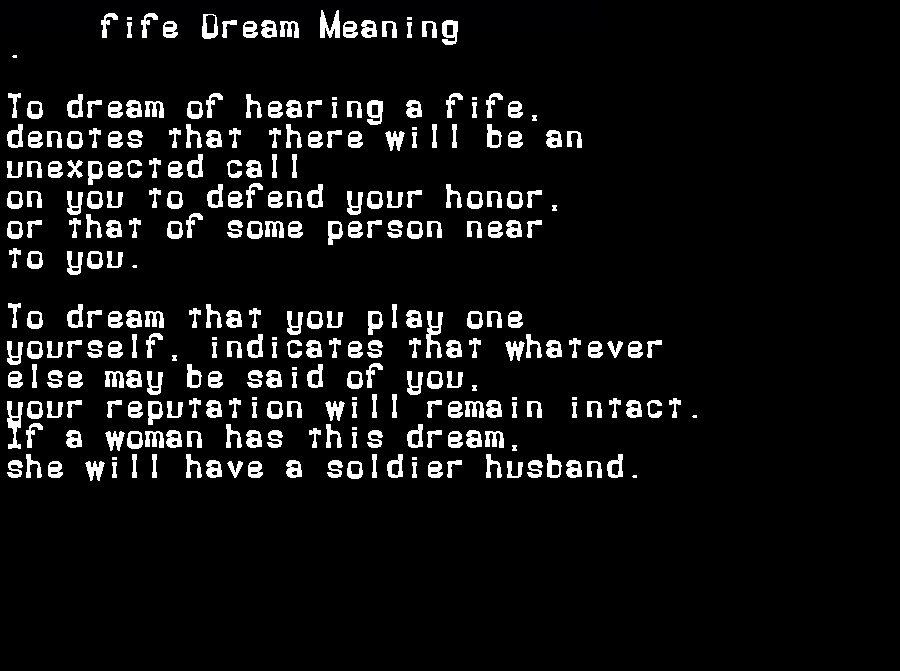 dream meanings fife