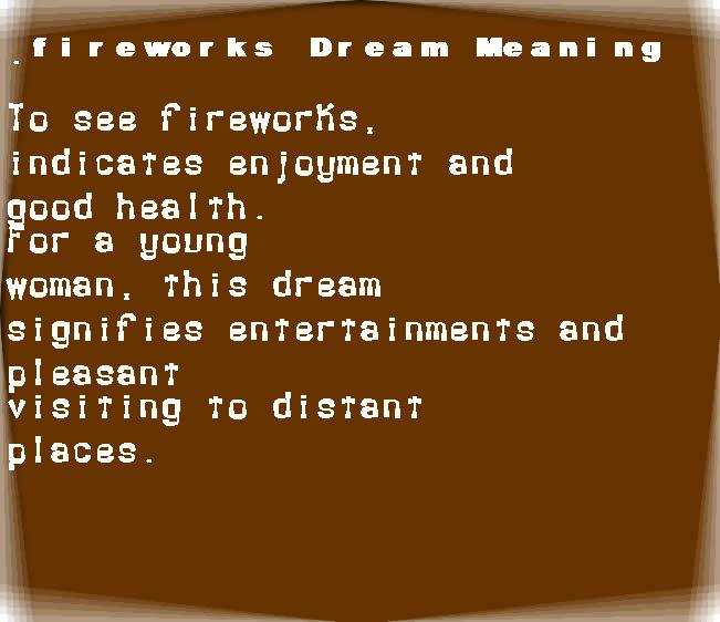 dream meanings fireworks