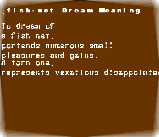 dream meanings fish-net