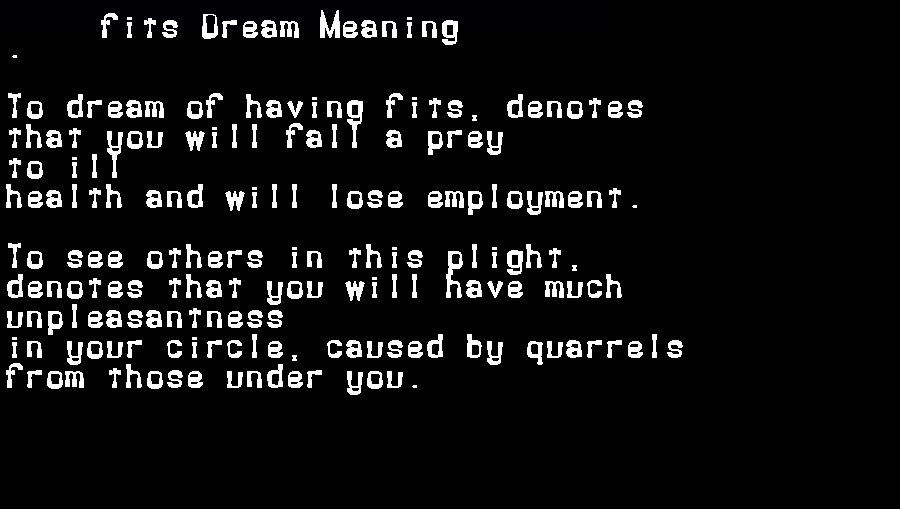 dream meanings fits