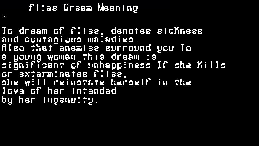 dream meanings flies