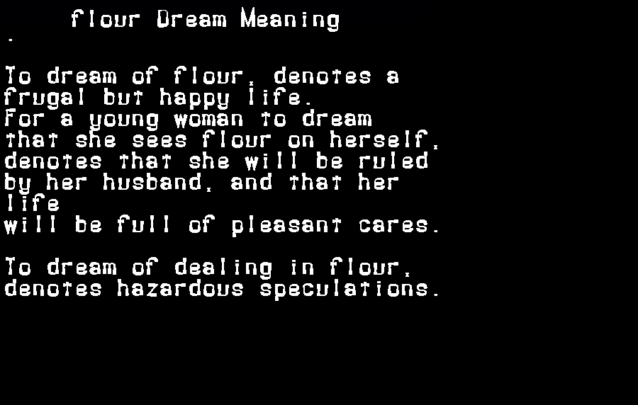 dream meanings flour