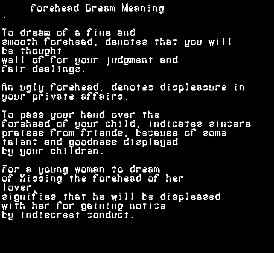 dream meanings forehead