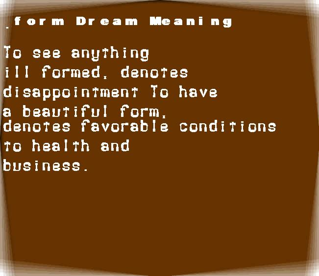 dream meanings form