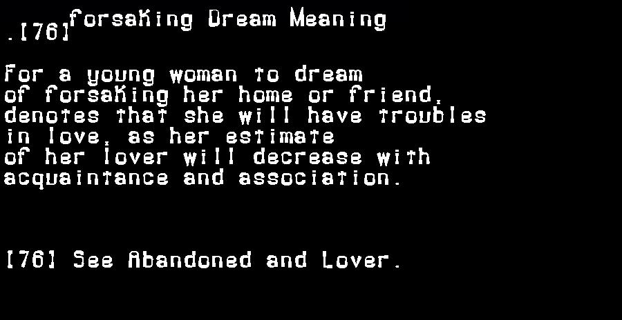 dream meanings forsaking