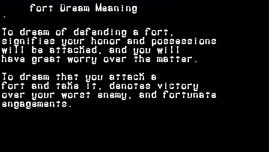 dream meanings fort