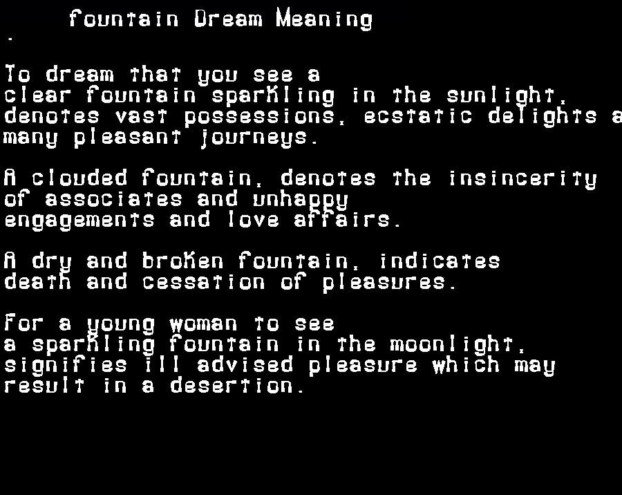 dream meanings fountain