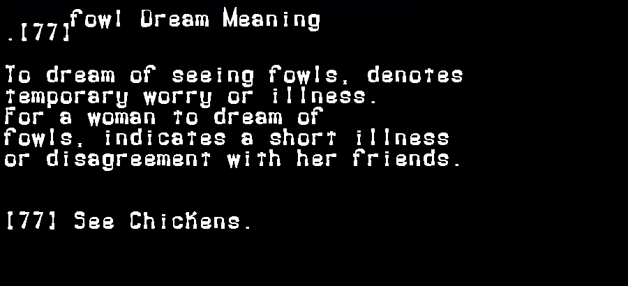 dream meanings fowl