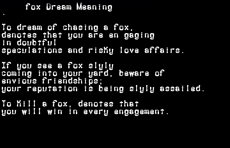 dream meanings fox